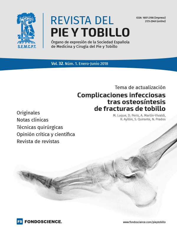 Portada Revista del Pie y Tobillo. Vol.32. Num.1. 2018